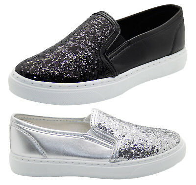 Kids Girls Glitter Slip On Pumps Sparkly Faux Leather Trainer Skate child Shoes