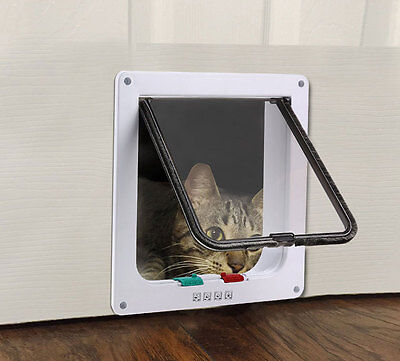 Cat Flap 4-WAY Locking Pet Door for Cats Small Dogs with Telescopic Frame S/M/L