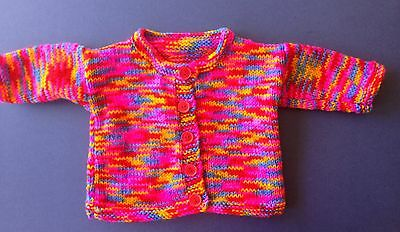 New hand knitted baby Jacket. Bright Multicolour. Sz 1. Save post on 2 items