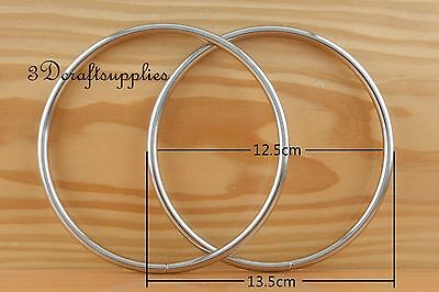 metal purse handle O rings Circle ring iron sliver 5 inch a pair C61