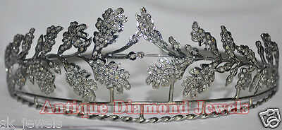 14.10cts ROSE CUT DIAMOND ANTIQUE VICTORIAN LOOK WEDDING HAIR JEWELERY FOR TIARA