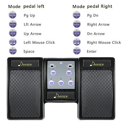 Brand New Donner Bluetooth Page Turner Pedal for Tablet Rechargeable Black