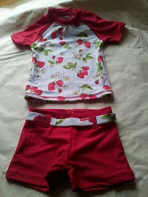 BNWT NEXT beautiful two piece SUNSAFE strawberry print suit 6-9 mths 9.5kg21lbs