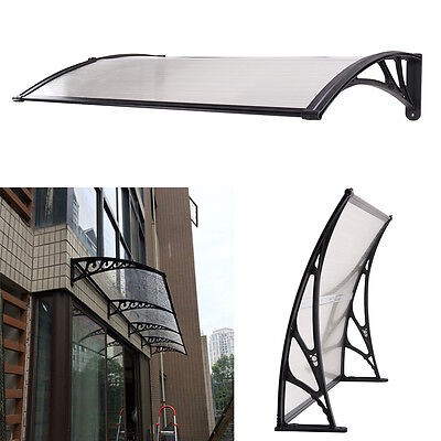 White&Black Door Canopy Awning Shelter Front Back Porch Outdoor Shade Patio Roof