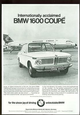 Bmw 1600 Coupe B/w Magazine Advert