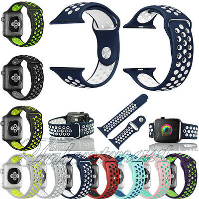 New Replacement Silicone Sports Bracelet Band Strap For Apple Watch 38mm 42mm