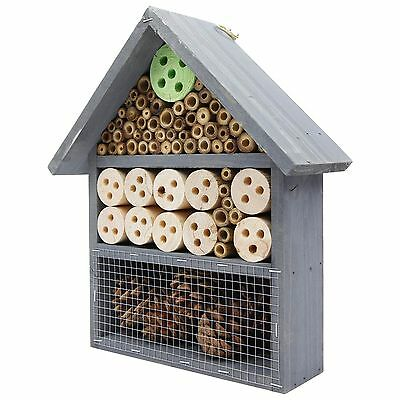 Wooden Bee & Insect Hotel - 3-Tier Wall-mount Garden Bug House