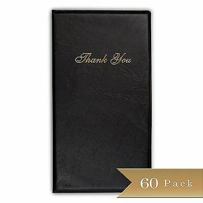 Set of 60 - TrueCraftware Black Guest Check Presenter with Gold Thank You