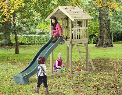 NEW Wooden Garden Toys Slides Look Out Tower Kids Slide Games Outdoor Climbing