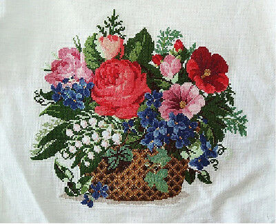"2017 New Finished completed Cross stitch""Flowers Basket""decor Gifts"