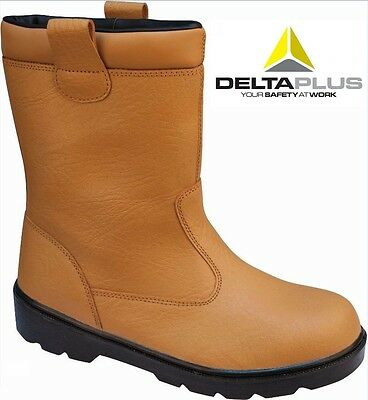 DELTA PLUS S1P Fur Lined Work Wear Safety steel toe Cap Rigger Tan Boots Sz 6-13