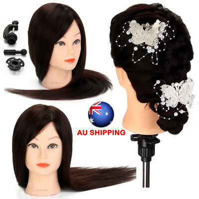 "70% Real Human Hair 22"" Hairdressing Mannequin Practice cut Training Head +Clamp"