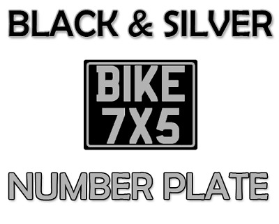 7x5 classic number plate motorbike motor cycle bike show plate black and silver