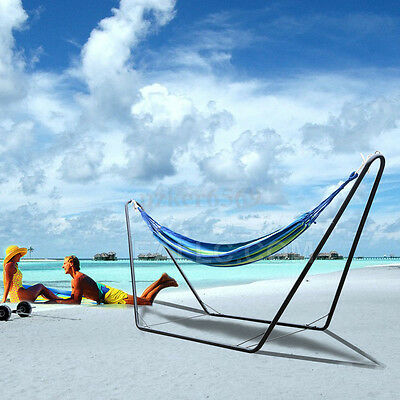Double Portable Folding Stand Swing Chair Hammock with Steel Stand Camping Bed