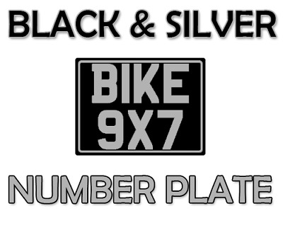 9x7 classic number plate motorbike motor cycle bike show plate black and silver