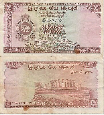 Ceylon 2 Rupees Banknote,5-7-1957 Very Fine Condition Cat#57-A