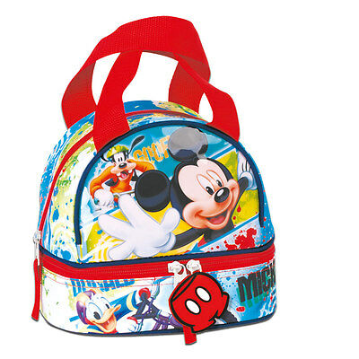 Disney Mickey Mouse FACE Double Lunch Bag School Boys Girls Picnic Snack Box