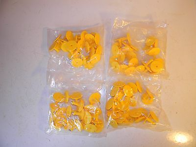 100 BACKS ONLY Yellow Plastic Large Livestock Ear Tags for Cow Cattle