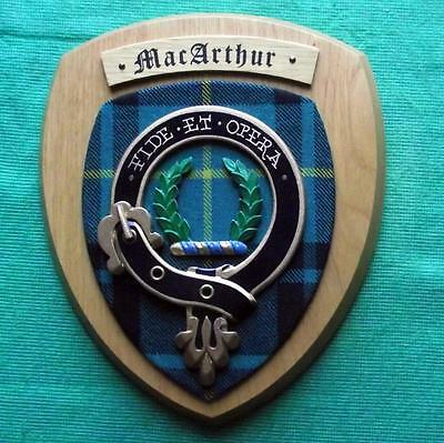 Vintage Old Scottish Clan MacArthur Tartan Heavy Oak Plaque Crest Shield