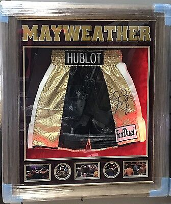 Floyd Mayweather Jr Hand Signed Replica Shorts TBE TMT Money Proof RARE COA