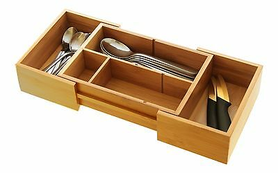 Bamboo Small Drawer Inserts Organiser, Cutlery Tray