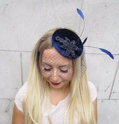 Navy Blue Birdcage Veil Beaded Feather Fascinator Hat Hair Vtg Clip Races 2587