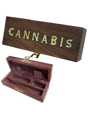 "Wooden Rolling Box  - ""Cannabis"" Design - Small -  Free UK P&P"