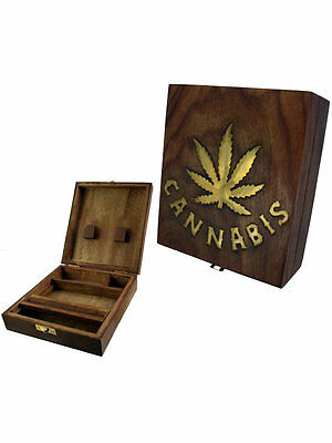 "Wooden Rolling Box  - ""Cannabis Leaf"" Design - Large -  Free UK P&P"
