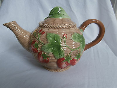 Border Fine Arts Farmers Market Basketweave Strawberry Floral Patterned Teapot