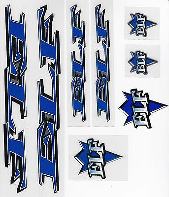 ELF BMX Decal Set-bleu sur nickel brossé