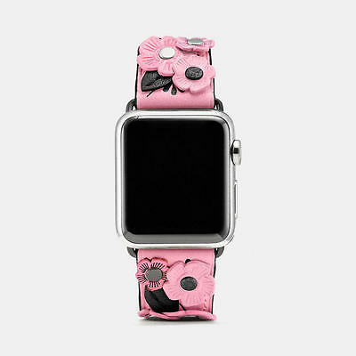 NWT Coach Apple Watch Tea Rose Appliqué pink/petal Band Strap 38mm gift box