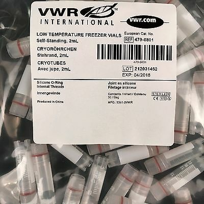 2ml Cryo Plastic Test Tubes Vial Screw Cap x 50 specimen container VWR simport