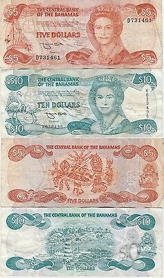 Bahamas 5 & 10 Dollar Banknotes 1974 Both Fine Conditions Cat#45 & 46