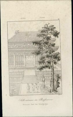 Dining Outside tall tree Purifications China 1837 antique engraved print