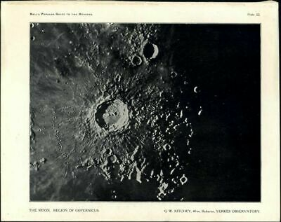 Moon Region Copernicus photo 1902 lovely craters surface Celestial print