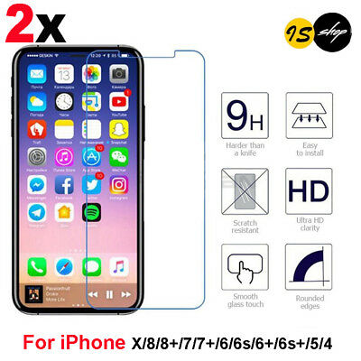 2X Scratch Resist Tempered Glass Screen Protector for iphone 8 7 plus 6 6s 5SE X