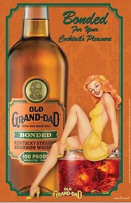 "Old Grand Dad ""Bonded Lady""poster 24 By 36. New"