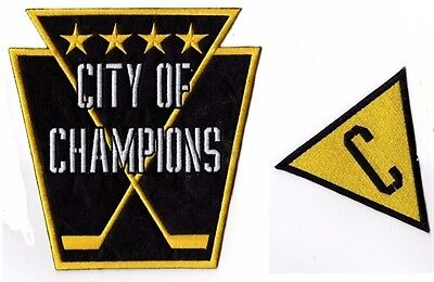 "2017 Pittsburgh Penguins Patch Set Of 2 ""city Of Champions"" Stanley Cup Final"