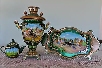 Russian Samavar  with matching Tray and Teapot