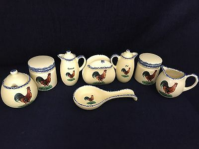 Ceramic Rooster Farm Condiment Set  And Table Accessories Decorative 13 Pieces