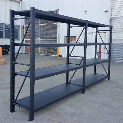 4.0M Metal Warehouse Racking Storage Garage Shelving Shelf Shelves - Matte Black