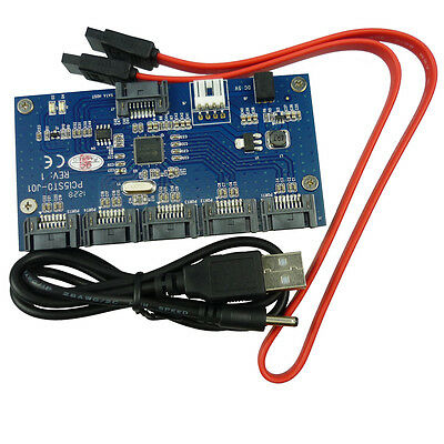 1 to 5 SATA Ports Multiplier Expansion Adapter Hub 3Gbps SATAII Riser Card PCB