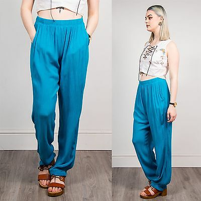 Womens 90's Vintage Summer Trousers Baggy Loose Pants Plain Blue Hippie Boho 12
