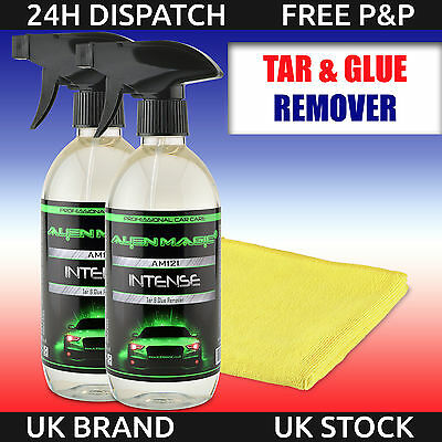 Very Strong Tar & Glue Remover Cleaner 2x 500ml + 1x Microfiber Alien Magic