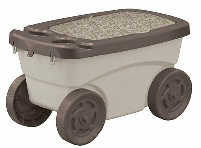 ! Suncast Garden Scooter Storage Rolling Seat Portable Patio Outdoor