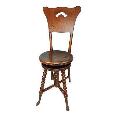 Antique Wooden Piano Stool Chair High Back Adjustable Swivel Seat & Brass Feet