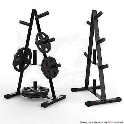 """Olympic Weight Plate Tree Rack Stand Storage For 2"""" Plates Discs 7 Bar Holder"""