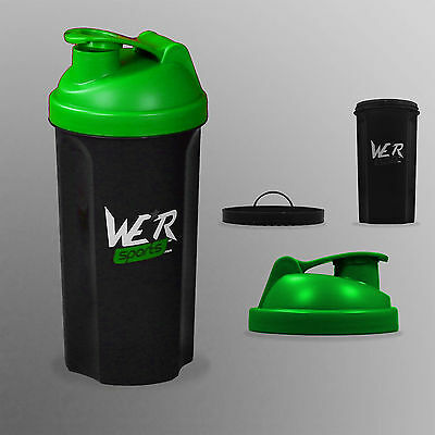 Shaker Bottle Protein Shaker Cup Bottle Nutrition Whey Protein Mixer 700ml Green