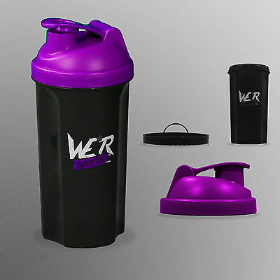 Shaker Bottle Protein Shaker Cup Bottle Nutrition Whey Protein Mixer700ml Purple