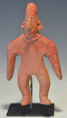 Pre Columbian Colima Flat Male Gingerbread Pottery Archaic Figure Headress 5.7""
